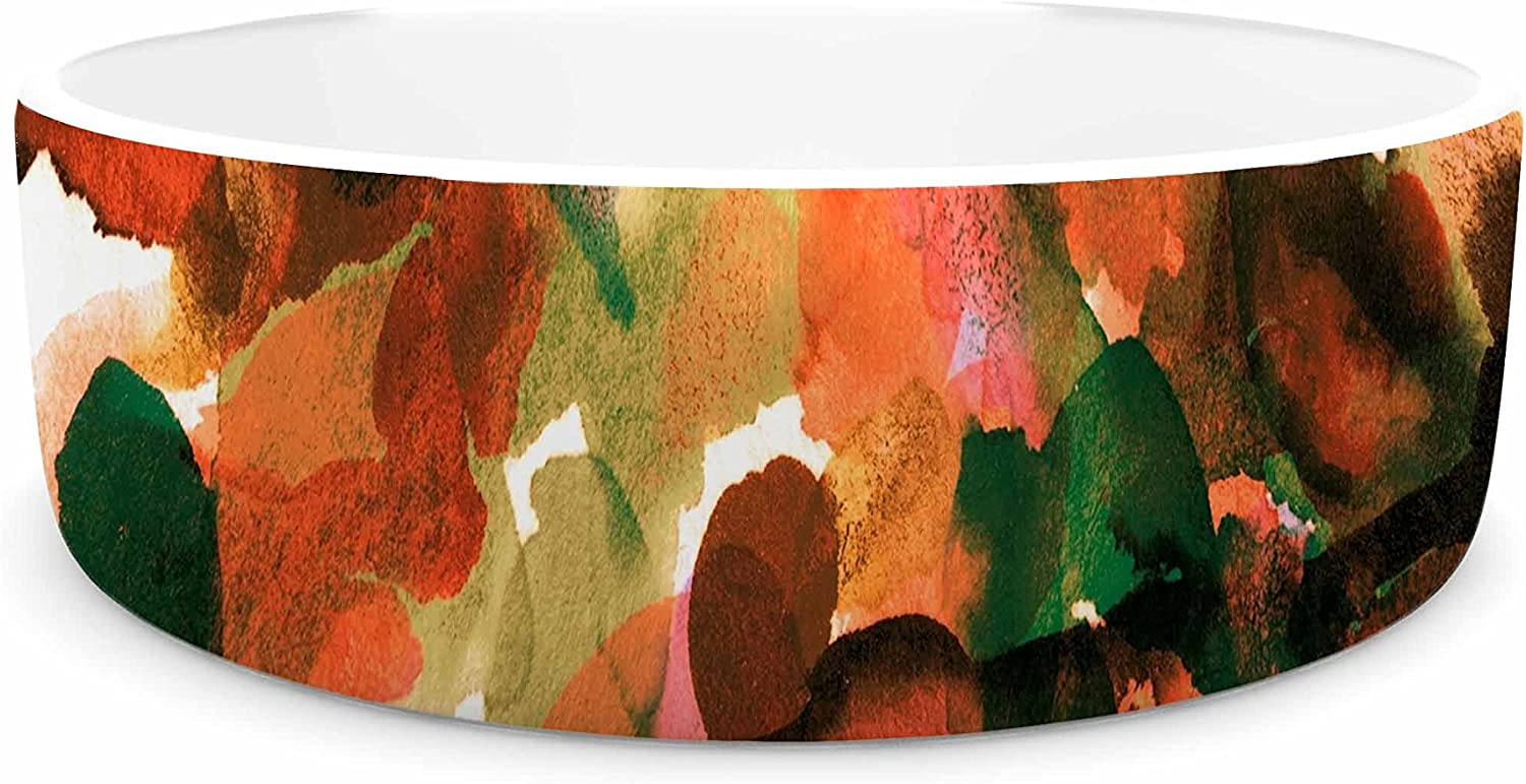 KESS InHouse EBI Emporium by Any Other Name 7  orange Green Watercolor Pet Bowl, 7  Diameter