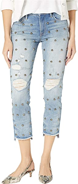 Denim Dome Stud Embellished Boyfriend Jeans