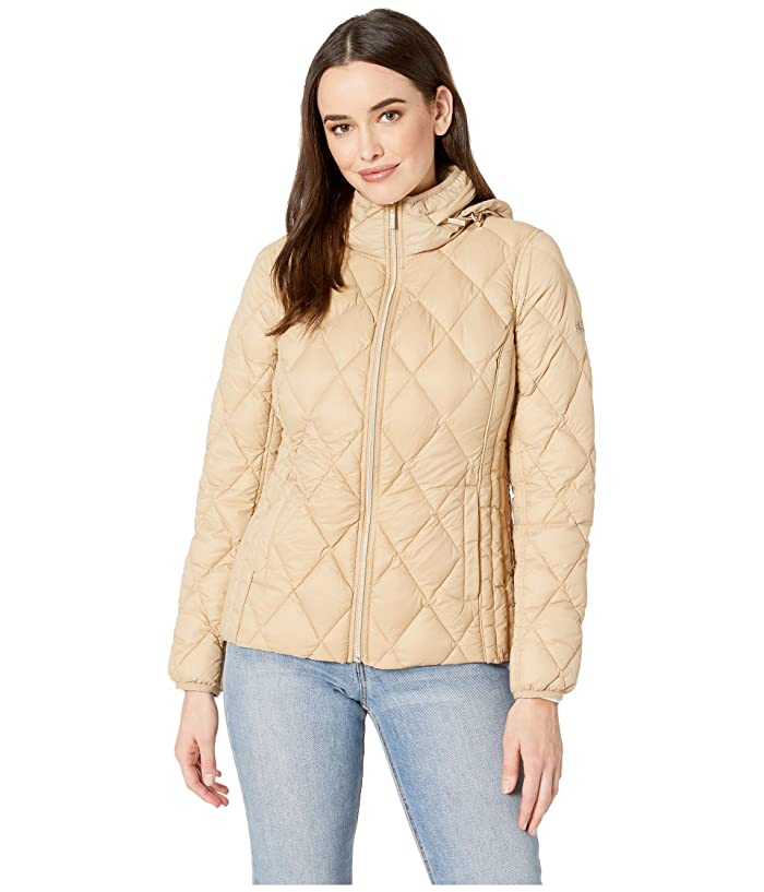 MICHAEL Michael Kors Quilted Nylon Packable Down Jacket M823965M (Khaki) Women