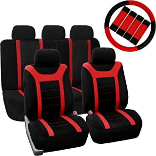 FH Group FB070115+FH2033 Sports Fabric Car Seat Covers, Airbag Compatible and Split Bench w. FH2003 Leather Steering Wheel Cover & Seat Belt Pads, Red/Black Color- Fit Most Car, Truck, SUV, or Van