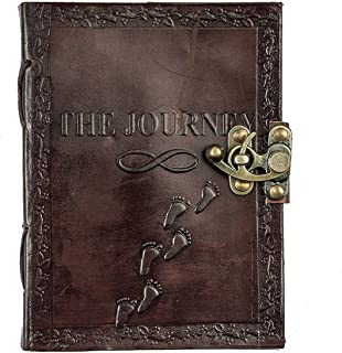 Leather Diary Journal Notepad Writing Book Stone Brown Embossed Handmade Papers Designed For Home & Office (7x5, Brown)