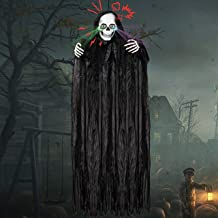 "72"" Halloween Hanging Grim Reapers with light-up and moving eyes and spooky sound, Animated Halloween Hanging Grim Reaper,..."