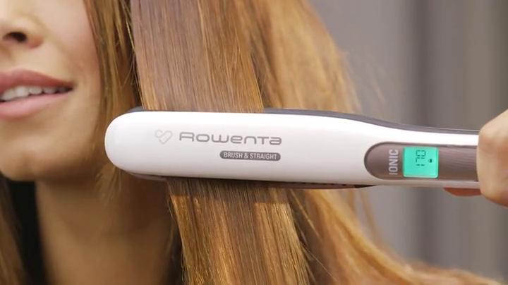 Rowenta Premium Care Brush & Straight SF7510F0 - Plancha de pelo con cepillo integrado para alisado natural con volumen, función iónica, recubrimiento de cashmere Keratin con aceite de argán: Amazon.es: Salud y