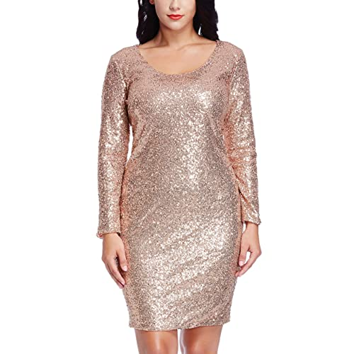 8a8407f29e7 Grapent Women s Plus Size Sequin Cocktail Sheath Short Dress Bodycon Long  Sleeve Rose Gold 22W