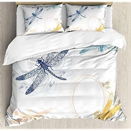 Ambesonne Dragonfly Duvet Cover Set Watercolor Bug Butterfly Like Moth With Branch Ivy Flowers Lilies Art Decorative 2 Piece Bedding Set With 1 Pillow Sham Twin Size Green Purple And Blue