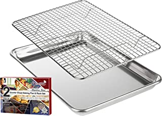 KITCHENATICS Roasting & Baking Sheet with Cooling Rack: Small Quarter Sheet Size Aluminum Cookie Pan Tray with Stainless Steel Wire Rack - 9.6