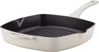Ayesha Collection Cast Iron Square Grill Pan with Pour Spouts, 10-Inch, French Vanilla