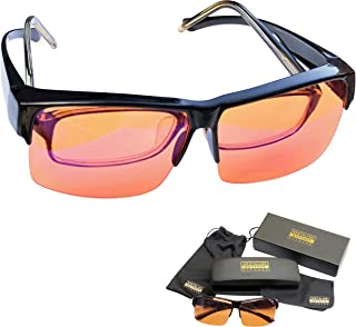 Blue Light Blocking Glasses - Fits Over Reading Glasses - Sleep Better at Night - Orange Anti Glare Lens to Reduce Insomnia, Migraine, Eye Strain – Blue Filter Computer Glasses for Men, Women, Gaming