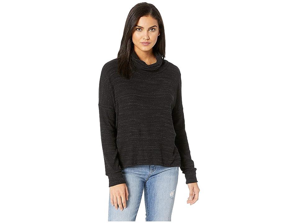 LNA Boxy Slub Sweater Turtleneck (Heather Black) Women
