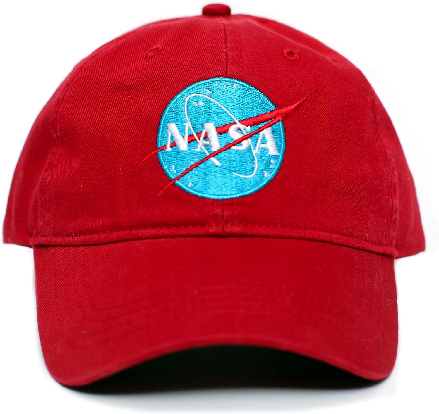 Tomorrowland NASA Embroidered Unisex Adult one-Size Dad Hat Cap Red