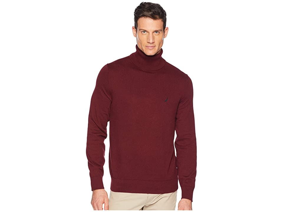 Nautica 12GG Turtleneck Sweater (Royal Burgundy) Men