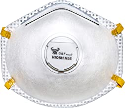 G & F 9116 N95 Particulate Respirator Dust Mask with Valve, Box of 10 Pieces