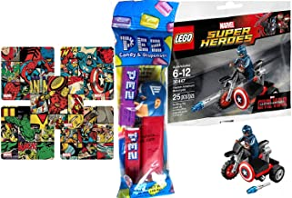 Lego Captain America Edition / Lego Super Heroes: Civil War Captain America Motorcycle Mini Figure Marvel 30447 + Set of 5 Marvel Super Hero Stickers