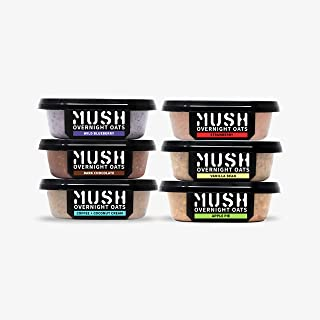 MUSH Overnight Oats Healthy Breakfast, Gluten-Free, Dairy Free, Protein Rich, No Sugar, 6 Pack Oatmeal Cups...