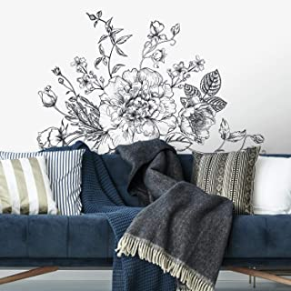 RoomMates Black And White Peony Peel And Stick Giant Wall Decals
