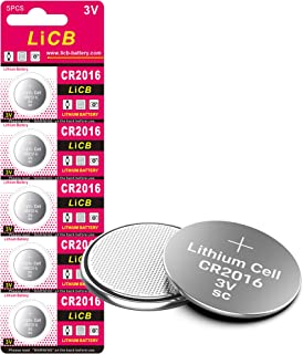 LiCB CR 2016 Battery,CR2016 Lithium Batteries,3 Volt Coin & Button Cell (5 Pack)