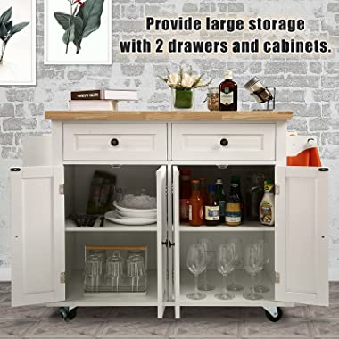 NSdirect Kitchen Island Cart,Kitchen Bar&Serving Cart Rolling on Wheels with Spice Rack Towel Holder Utility Storage Trol
