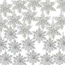 BANBERRY DESIGNS Acrylic Iridescent Snowflake Christmas Ornaments - Set of 24 Assorted Styles of Snowflakes - Clear Acryli...