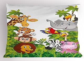 Ambesonne Nursery Pillow Sham, Cartoon Style Zoo Animals Safari Jungle Mascots Tropical Forest Wildlife Pattern, Decorative Standard Size Printed Pillowcase, 26