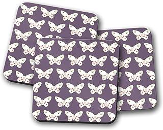Posavasos morado con diseño de mariposa, posavasos individuales o juego de 4