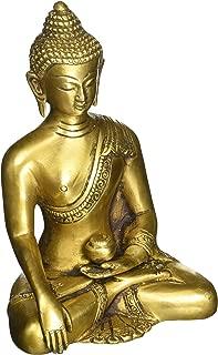 SouvNear Thai Buddha Meditating Peace Harmony Statue, [Dhyana Mudra] Religious Decor Handmade Brass Antique Look Shakyamuni Sculpture Figurine [ 6 Inch Large / Weight 2.2 Pound ]