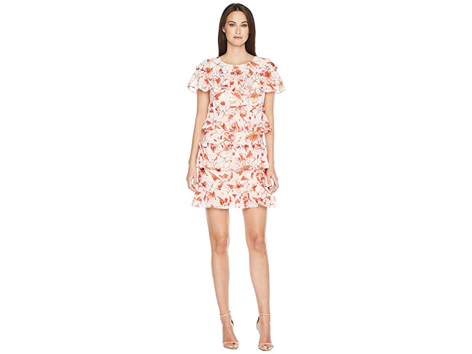 Badgley Mischka Floral Print Runway Dress (Red Multi) Women