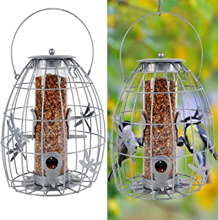 winemana Outdoor Hanging Wild Bird Feeder, Transparent Plastic Tube Inside, Suitable for Mixed Seeds, Squirrel Proof with ...