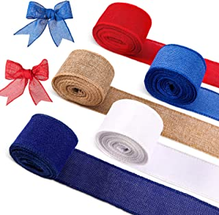 5 Roll/30 Yard Independence Wire Edge Ribbon Patriotic Theme Ribbon Blue Red White Ribbon for 4th of July Craft Patriotic ...