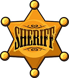 Cool Simple Golden Sheriff Star Badge Cartoon Icon Vinyl Decal Sticker (8
