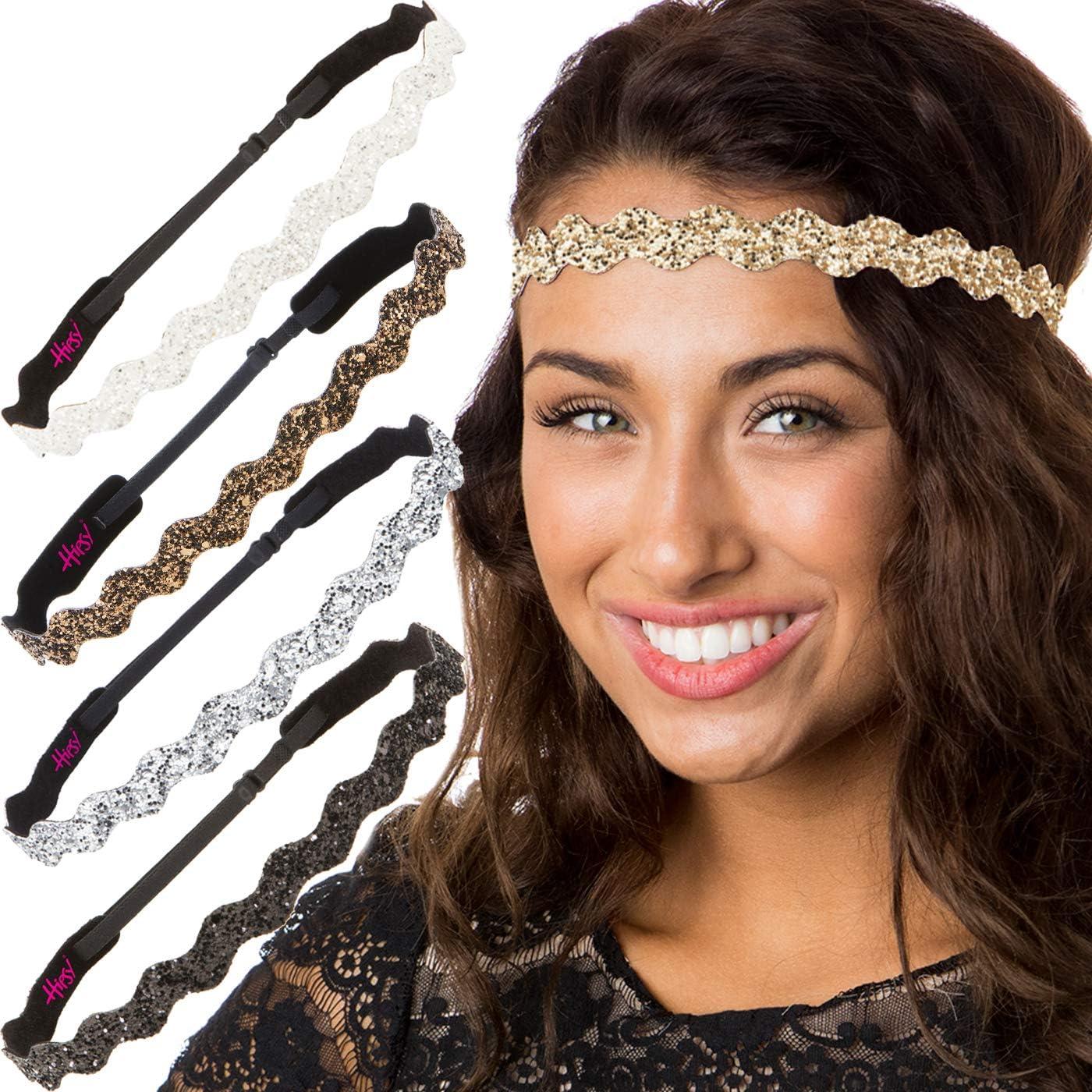 Hipsy Petite Size, Adjustable No Slip Sparkly Bling Glitter Wave 5pk Headbands for Women Girls & Teens