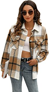 Himosyber Womens Casual Brushed Plaid Lapel Button Down Shacket Shirt Coat Jacket