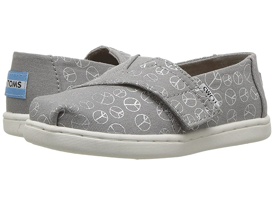 TOMS Kids Alpargata (Infant/Toddler/Little Kid) (Drizzle Grey Foil Peace Signs) Girl