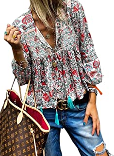 Women's Casual Boho Floral Print V Neck Long Sleeve Shirts Tops Loose Blouses