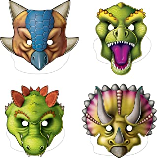 Fun Express 4 Count Dinosaur Masks, Elastic Attached, Costume, Adventure, Birthday Party Accessories