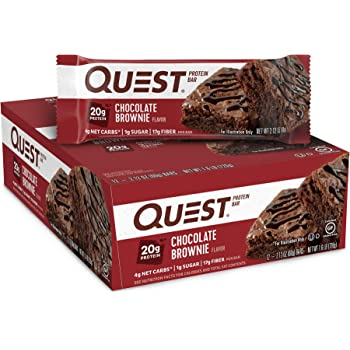 Quest Nutrition Chocolate Brownie Protein Bar, High Protein, Low Carb, Gluten Free, Keto Friendly, 12 Count