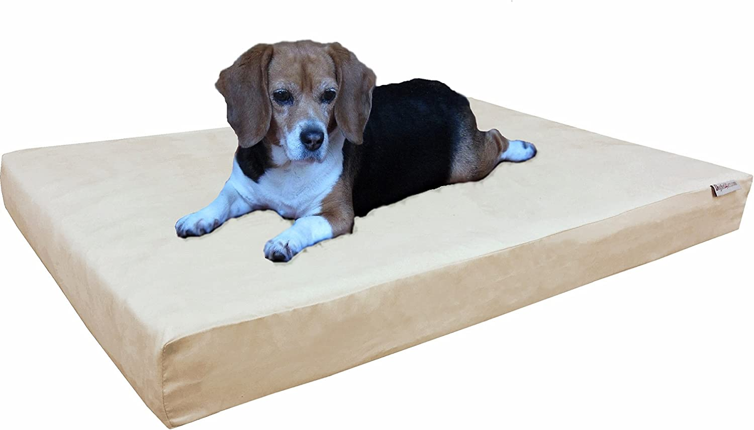 Dogbed4less Orthopedic Medium Large Dog Bed with Memory Foam for Pet, Waterproof Liner, Washable Microsuede Khaki Cover, 37X27X4 Inch
