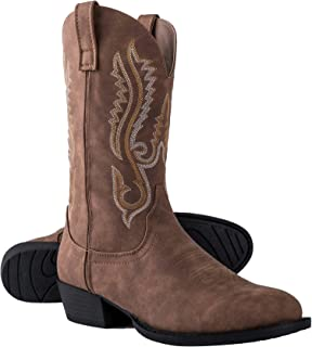 Canyon Trails Mens Classic Durable Round Toe Embroidered Western Rodeo Cowboy Boots