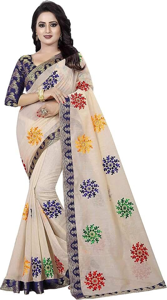 Indian Shreeji Designer Women's Ari Embroidery Work and Chanderi Cotton Saree With Blouse Piece Saree
