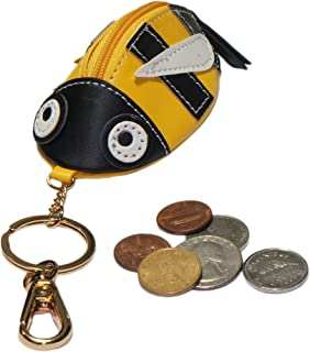 Animal Zipped Coin Purse with Keychain (Yellow Bee)