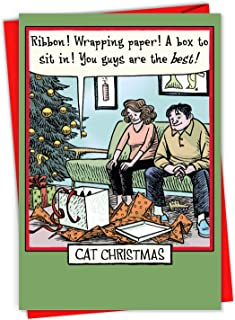 NobleWorks Cat Christmas - Merry Christmas Greeting Card with Envelope (4.63 x 6.75 Inch) Presenting the Gift that All Kitties Really Want 1888