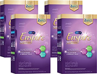 Enfamil Enspire Gentlease Infant Formula with Lactofrerrin, DHA, and MFGM for Brain Support and Immune Health, Eases Gas, Fussiness, Crying in 24 Hours, Non-GMO, Powder Refill Box, 29 Oz (Pack of 4)