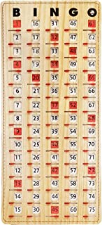 """MR CHIPS Master Board Bingo Cards Slide Shutter - Deluxe - Stitched Borders - Wood Grain Color - 14.75"""" H x 6.75"""" W"""