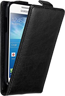 Cadorabo Case Works with Samsung Galaxy S4 Mini in Night Black – Flip Style Case with Invisible Magnetic Closure – Wallet Etui Cover Pouch PU Leather Flip