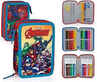 21d542f2f Marvel Vengadores 63234 Estuche 3 bisagras, Plumier Triple, 44 Piezas