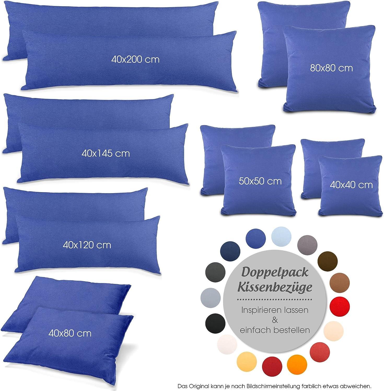 40 x 80 cm Set di 2 federe in Jersey con Chiusura Lampo aqua-textil 0011457 Colore: Blu Scuro