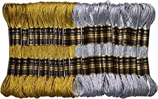 Metallic Embroidery Thread - Embroidery Floss-Cross Stitch Threads - Friendship Bracelets Floss - Crafts Floss - 24 Skeins for Embroidery Embellishment Craft Needlework Decorative Gold and Sliver