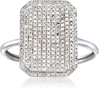 Ross-Simons 0.33 ct. t.w. Pave Diamond Rectangle Ring in 14kt White Gold