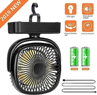 LIJJY USB Recargable 4400mA con Pilas, Ventilador portátil para Acampar con batería de Esponja, Tienda Recargable, Ventilador para Camping Gym Car Travel Home Office