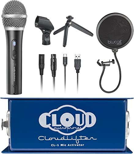 wholesale Cloud Microphones CL-1 online sale Cloudlifter 1 Channel Mic Activator for online Dynamic, Ribbon & Tube Microphones Bundle with ATR2100X-USB Cardioid Dynamic Microphone, and Blucoil Pop Filter outlet sale