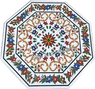 Gifts And Artefacts Table de salle à manger en marbre blanc en forme d'octogone avec travail géométrique multiple 36 pouces